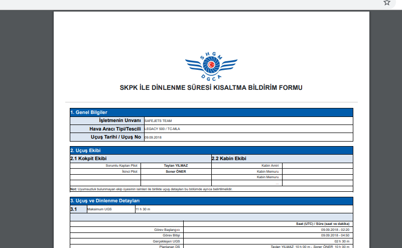 new feature automatic caa form printout safejets ftl